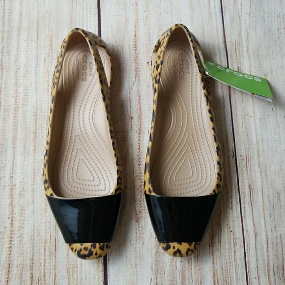 5fe6a0703f CROCS Shoes | Sienna Leopard Shiny Flat Sz 10 Nwt | Poshmark